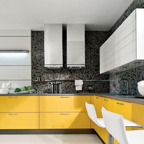 comnmente en el diseo de cocinas en forma de l el y la zona de lavado estn en la misma pared y la zona de coccin en la pared continua